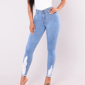 Fashion Nova Distressed Skinny Stretch Jeans